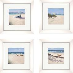 PTM Images Coastal Beach Umbrella Framed Graphic Art