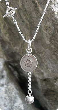 """30"""" vintage coin necklace from randombalance.com"""