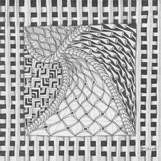 Learn this zendoodle by Barbara Kaiser in 3 steps at ClothPaperScissors.com! #tangles #doodles #patterns