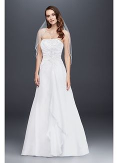 Chiffon A-line Wedding Dress with Side Draping V9409
