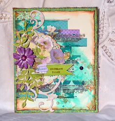 Love this whimsical card that Denise van Deventer created using the new Enchanted Garden collection. #BoBunny, #scrapbookcards @strawbspatch