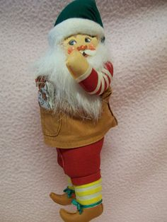 Vintage Santa Ornament Cloth Fabric Doll Fitz and Floyd Toy Maker