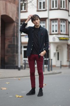 Dark Red Pants Men