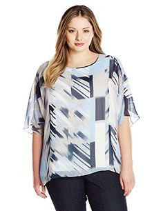 Calvin Klein Womens Plus Size Dolman Patterned Top Ice Blue GreyTwilight 3X *** Be sure to check out this awesome product.