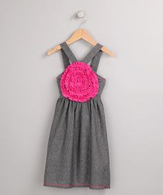 Take a look at this Black & Gray Stripe Blooming Rose Dress - Toddler & Girls on zulily today!
