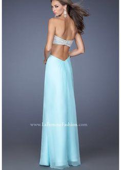 Light blue open back prom dress