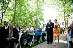 An Orange & Purple Wedding: The Wedding Party walks down the aisle. http://linnealizphotography.com
