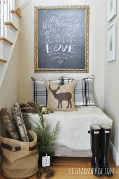 City Farmhouse-Holiday Nook-Using Textures, Natural Elements and Lindsey Letters Beautiful Canvas. beautiful Christmas home tour City Farmhouse, Farmhouse Decor, All Things Christmas, Christmas Home, Christmas Ideas, Cozy Nook, Up House, Chalkboard Art, Beautiful Christmas