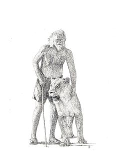 Gareth's pen & ink drawing of George Adamson and a lioness Ink Pen Drawings, Lions, Fantasy, Elsa, Tattoos, Book, Free, Organization, Lion