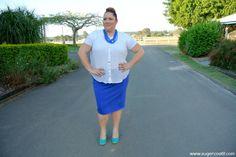 plus size blue pencil skirt outfit, aussie curves, plus size fashion blog