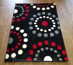 Amazon Com 0327 Red Black Swirl White Area Rug Carpet 5x7