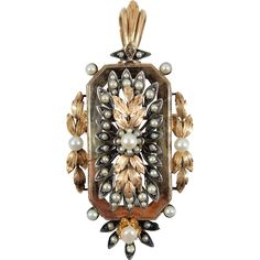 Rare 1870s antique 18K solid rose gold and 950 silver brooch, French stamped gold and pearl jewelry,  Filigree gold leaf pendant