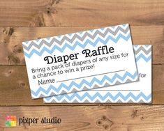 INSTANT DOWNLOAD - Diaper Raffle - Blue and Grey Chevron Baby Shower