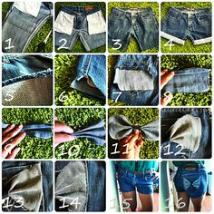 TheDIYroom: #1 DIY: Jeans to shorts with bow pockets