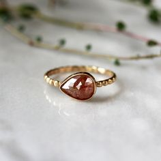 Copper Red Diamond Ring Pear Rose Cut 14k Yellow by ShopClementine