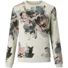 Collection WEEKEND by John Lewis Watercolour Print Sweatshirt, Grey (245 PLN) ❤ liked on Polyvore featuring tops, hoodies, sweatshirts, gray top, gray sweatshirt, patterned sweatshirt, floral tops and floral sweatshirt