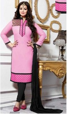 Ayesha Takia ! Churidar Style Salwar Kameez in Black Color
