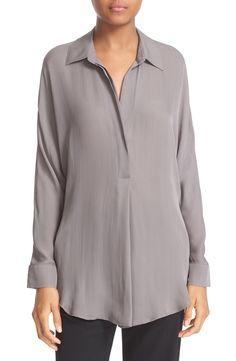 Vince Shirred Back Yoke Silk Tunic Shirt available at #Nordstrom