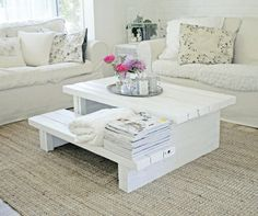 Coffee table that you can sit on....super sturdy, super rustic.