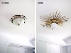 Sunburst Mirror Medallion DIY - A Beautiful Mess Need to do this! Sunburst ceiling medallion DIY (click through for tutorial) Diy Luminaire, Sunburst Mirror, Ceiling Medallions, Beautiful Mess, First Home, My New Room, Diy Design, Interior Design, Home Projects
