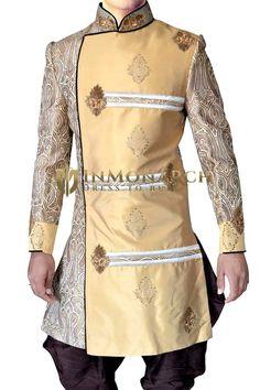 Mens Golden 2 Pc Indo Western Sherwani Designer