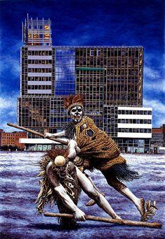 Andrea Zucchi, Cambridge, (U.S.A.) 2009, olio su lino, cm 160x110.
