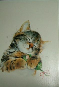 Kitten with Toy Mouse - Vintage Christmas Card