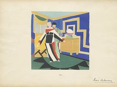 "Sonia Delaunay Fashion Illustration 6  Reference Code: US.NNFIT.SC.N6853.D34 L56.2  Date of Original: 1923    Source: Plates from portfolio ""Sonia Delaunay; ses peintures, ses objets, ses tissus simultanés, ses modes"""