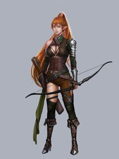 Female elf fighter archer - pathfinder pfrpg dnd d&d fantasy Fantasy Girl, Fantasy Warrior, Fantasy Women, Fantasy Rpg, Fantasy Artwork, Elf Warrior, Dungeons And Dragons Characters, Dnd Characters, Fantasy Characters