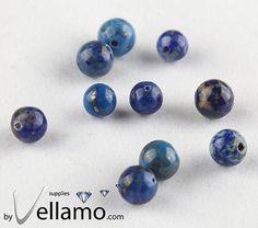 Round lapis lazuli beads blue 10 pieces 45mm by byvellamosupplies, $2.00