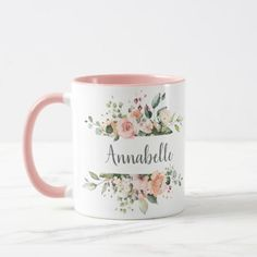 Sunny Floral Pastel Pink Roses Ribbon Mug - decor gifts diy home & living cyo giftidea Personalised Name Mugs, Personalized Cups, Ceramic Cafe, Flower Art Drawing, Cardboard Box Crafts, Sublimation Mugs, Monogram Stickers, Painted Mugs, Mug Printing
