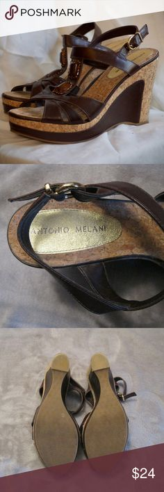 Antonio Melani Cork and Leather Wedges - Size 9 - EUC. No tears in leather or nicks in cork.  High quality and high fashion! ANTONIO MELANI Shoes Wedges
