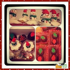 Holiday goodie box :) chocolate cupcakes filled with Oreo cream, topped with chocolate buttercream and a fondant Christmas light. Vanilla cake filled with chocolate buttercream topped with a cute fondant snowman:)