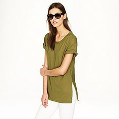 Made from supersmooth pima cotton, this easy tunic hits at the perfect just-below-the-bum length (and looks especially great with a pair of Pixie pants). Slightly loose fit. Pixie Pants, J Crew Men, Online Clothing Stores, Women's Clothing, T Shirts For Women, Clothes For Women, Daily Fashion, Style Me, Casual Outfits