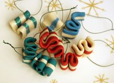 Wild Olive: ornamentation: ribbon candy from erin Polymer Clay Christmas, Christmas Ornament Crafts, Christmas Ribbon, Christmas Fun, Christmas Crafts, Christmas Decorations, Candy Decorations, Clay Ornaments, Christmas Goodies