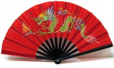 chinese fans | Chinese Nylon-Cloth Dragon Fan in Brilliant Red or Black Simple Colors ...