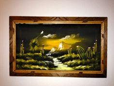 "Vintage Black Velvet Painting ""Mexico Landscape"" Made in Mexico Velvet Painting, Creepy Clown, Landscape Art, Black Velvet, Vintage Black, Daisy, Mexico, Gift Wrapping, Hand Painted"