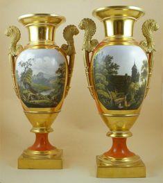 French  Porcelain — Pair Empire Vases,19th Century, c. 1820 – 1840,  (600×673)
