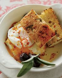 Poached Eggs w/Baked Feta and Olives