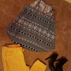 Aztec print shirt Loose fit cute aztec print top Tops Tank Tops