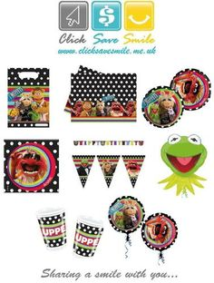 The Muppets Kids Party Items - Tablecover - Napkins - Plates - Cups