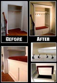 turn mudroom closet into storage   closet mud room
