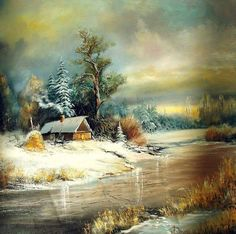 Image discovered by Find images and videos on We Heart It - the app to get lost in what you love. Cabin Art, Art Painting, Landscape Paintings, Oil Painting Landscape, Beautiful Paintings, Winter Painting, Landscape Art Painting, Winter Art, Architecture Painting