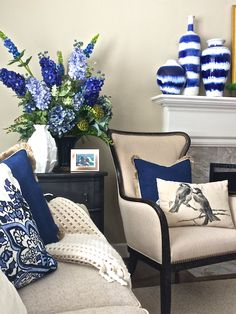 Looking to add a pop of color to your neutral decor? Indigo is a here to stay and a trend color for 2015. Use the entire range of periwinkle to navy to dress up you interiors and is a perfect addition to any decor style.  Add interest to your fireplace mantel with these indigo drip glazed vases.  Don't forget to add comfort and color to your furniture with accent pillows and cozy throw blankets from Homegoods.  (sponsored)