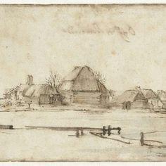 Wintergezicht met een vaart, huizen en twee schepen, Rembrandt Harmensz. van Rijn, 1648 - 1652 - Rijksmuseum