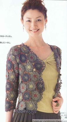 Crochetemoda: Casaqueto com Flores de Crochet