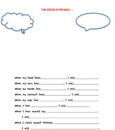 What to do when I get angry worksheet- perfect for small grp counseling