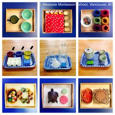 A collage of some of the Montessori Practical Life activities in our classrooms. Practical life activities build a foundation on which the children wi. Montessori Trays, Montessori Preschool, Montessori Education, Early Learning, Kids Learning, Montessori Practical Life, Tot School, Childhood Education, Preschool Activities