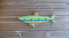 Handcrafted Striped Shark Coat Rack Beach by TheBeachCollection