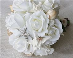 Brooch Seashells, Starfish and Natural Touch Roses Bouquet